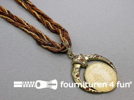Steampunk amulet beige bruin - goud