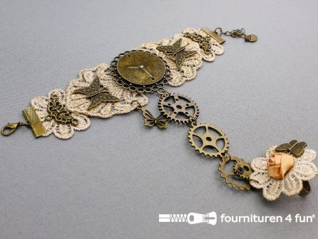Steampunk armband met ring tandwielen brons - beige - oud roze