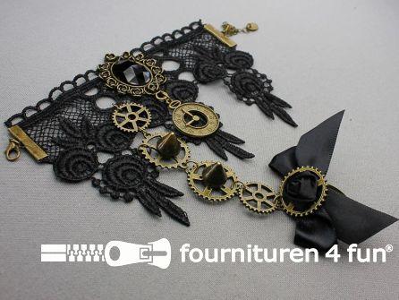 Steampunk armband met ring tandwielen brons - zwart