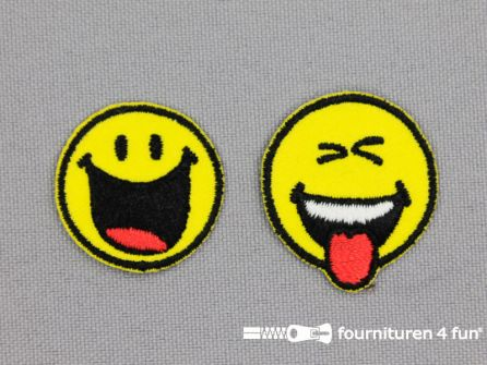 Applicatie 25mm smiley set funny