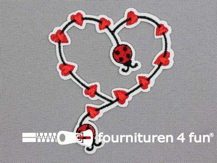 Applicatie 80x70mm lieveheersbeestje hart