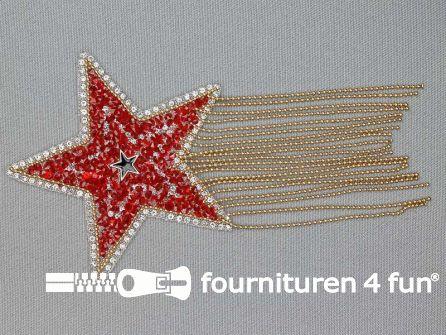 Applicatie met strass steentjes 85x85mm ster rood