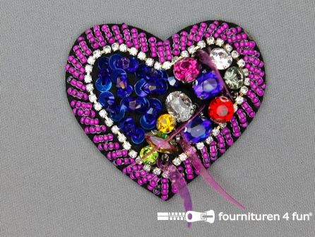 Applicatie met strass steentjes 65x60 hart