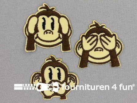 Applicatie set aapjes - horen, zien en zwijgen