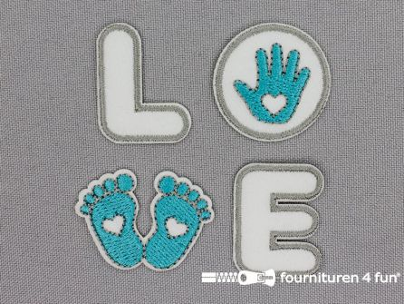 Applicatie set 'LOVE' grijs - petrol blauw