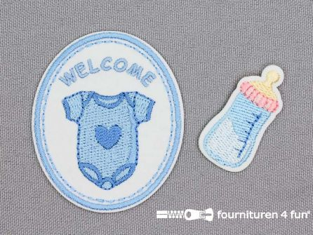 Applicatie set welkom baby blauw