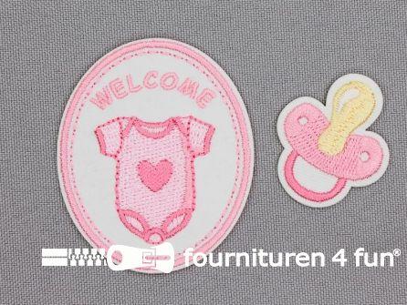 Applicatie set welkom baby roze
