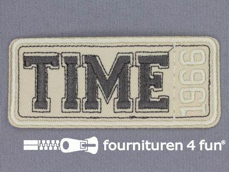 Applicatie 86x37mm Time 1966 licht beige