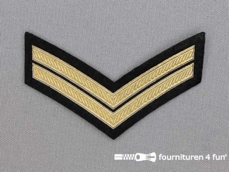 Army applicatie 74x45mm rang strepen - goud metallic