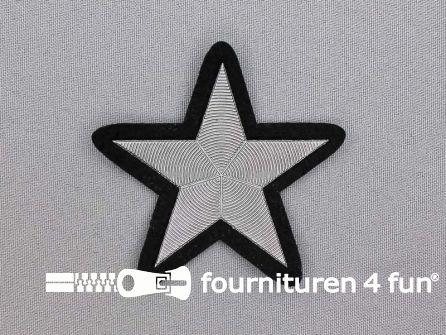Ster applicatie 70x70mm zwart zilver metallic