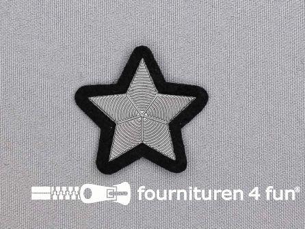Ster applicatie 39x39mm zwart zilver metallic