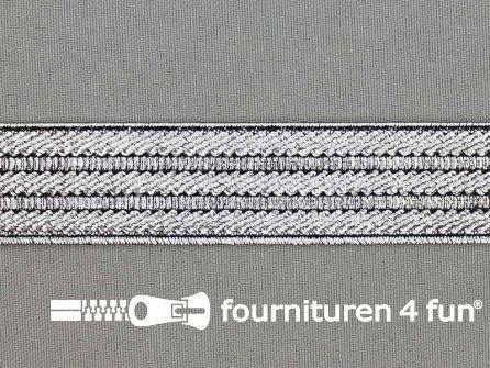 Goud- en zilver elastiek 25mm zilver - zwart