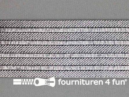 Goud- en zilver elastiek 50mm zilver - zwart