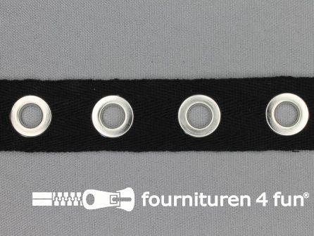 Ogenband 25mm zwart zilver