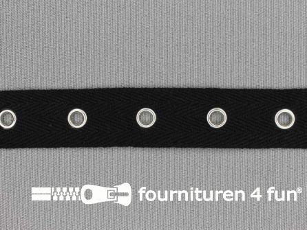 Ogenband 20mm zwart zilver