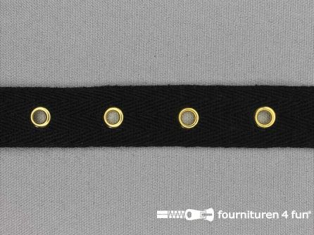 Ogenband 20mm zwart goud