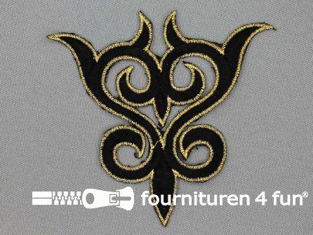 Goud - zwart barok applicatie 93x99mm