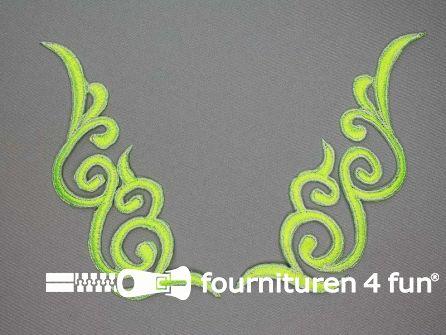 Zilver - neon groen applicatie 175x50mm per paar