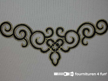 Goud - zwart barok applicatie 245x95mm