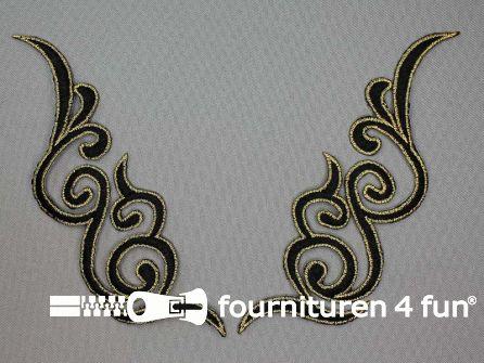 Goud - zwart applicatie 175x50mm per paar
