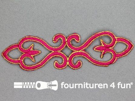 Goud - fuchsia barok applicatie 121x34mm