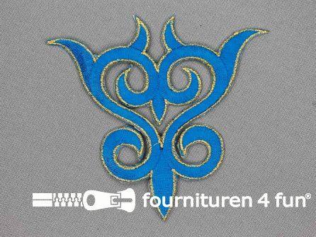 Goud - aqua blauw barok applicatie 93x99mm