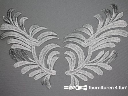 Barok applicatie 180x120mm zilver per paar