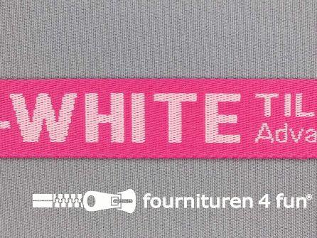 Bedrukt keperband 25mm fuchsia roze - wit