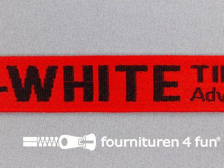 Bedrukt keperband 25mm rood - zwart