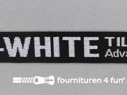 Bedrukt keperband 25mm zwart - wit