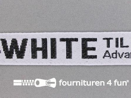 Bedrukt keperband 25mm wit - zwart