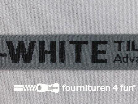 Bedrukt keperband 25mm grijs - zwart