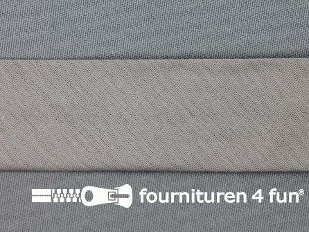 Rol 25 meter katoenen biasband 30mm grijs - beige