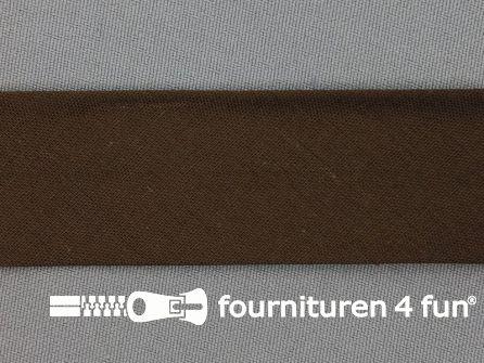 Rol 25 meter katoenen biasband 30mm donker bruin