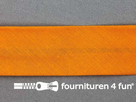 Rol 25 meter katoenen biasband 30mm oranje