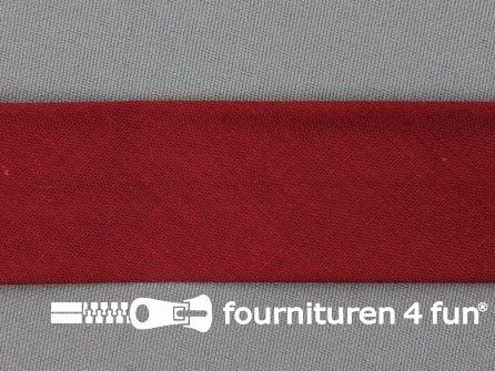 Rol 25 meter katoenen biasband 30mm bordeaux rood