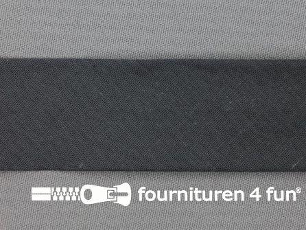 Rol 25 meter katoenen biasband 30mm donker grijs