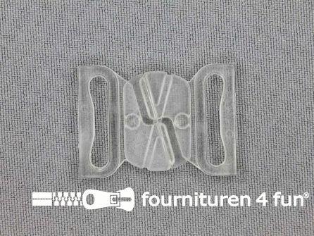 Bikini sluiting kunststof transparant 19mm