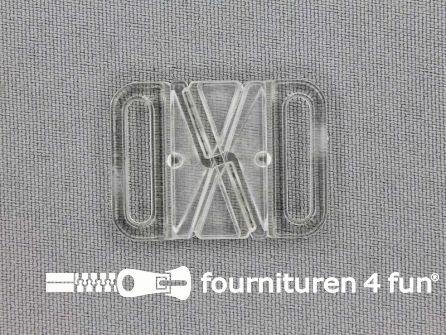 Bikini sluiting kunststof transparant 18mm