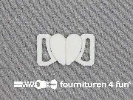 Bikini sluiting kunststof wit hartje 12mm