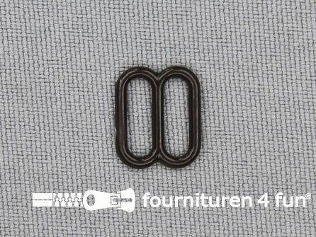 5 Stuks kunststof verstel schuifje donker bruin 10mm