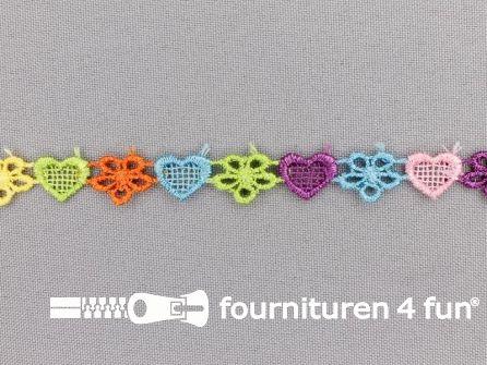 Bloemenkant 10mm multicolor hartjes en bloemetjes