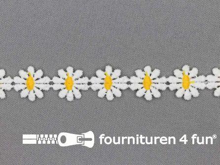 Bloemenkant 17mm geel - wit