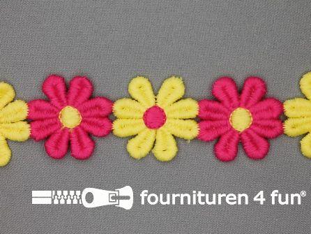 Bloemenkant 32mm fuchsia - geel