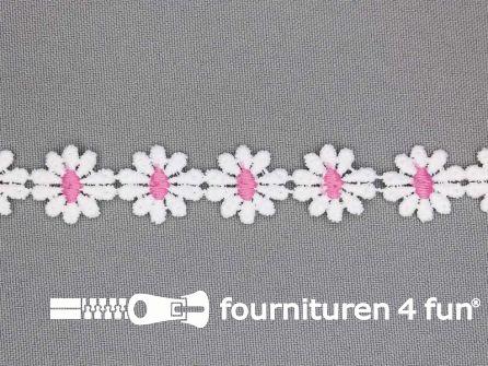 Bloemenkant 17mm roze - wit