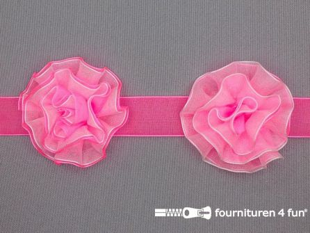 Bloemenkant 60mm neon roze -wit