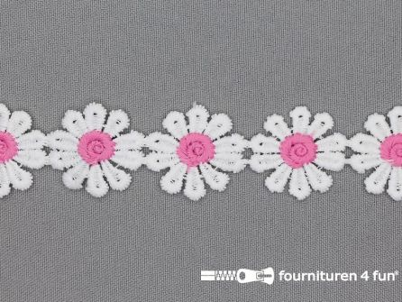 Bloemenkant 26mm roze - wit