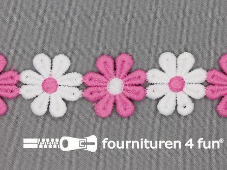 Bloemenkant 32mm roze - wit