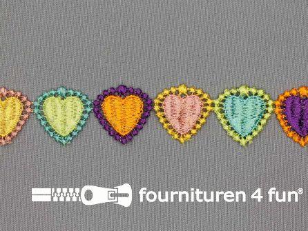 Bloemenkant 27mm multicolor hartjes
