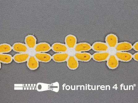 Bloemenkant 32mm geel - wit